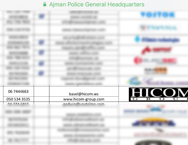 Approved companies Ajman Police